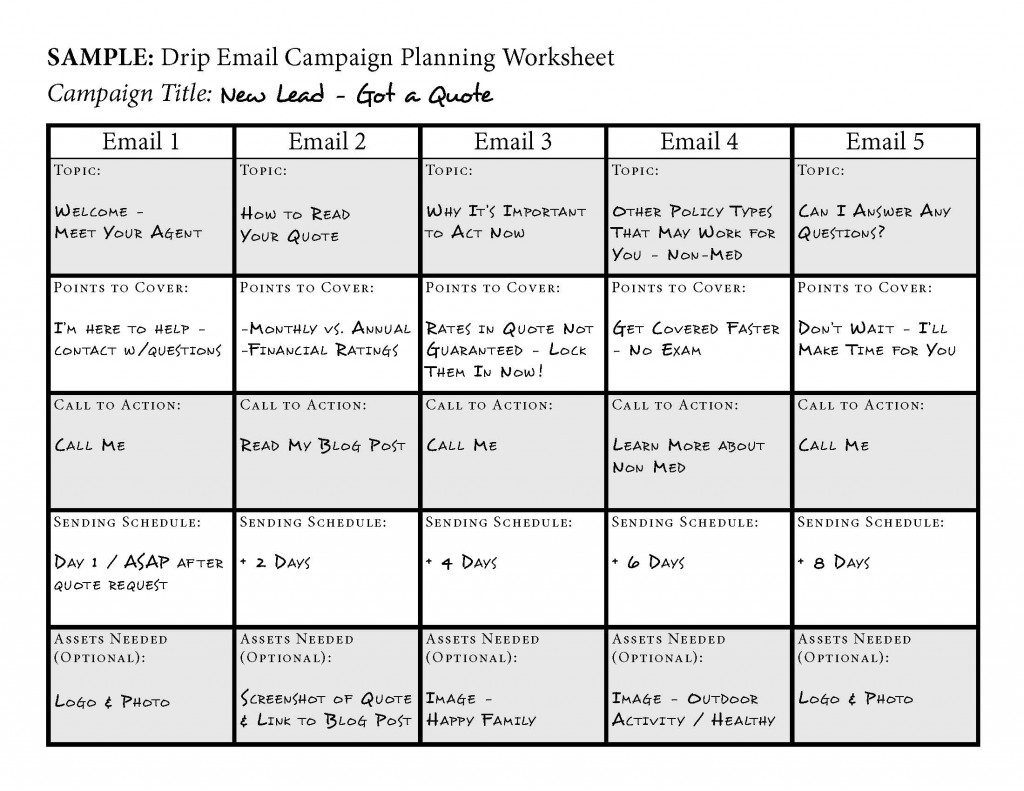 Drip Email Campaign Planning Worksheet