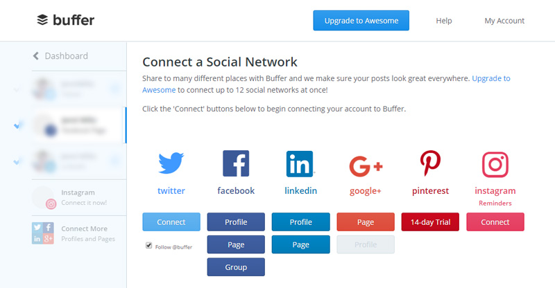 Connecting Social Media Accounts in Buffer