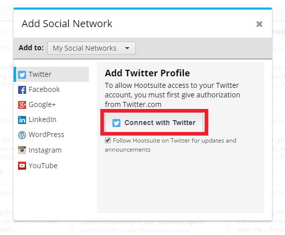 Adding social networks in Hootsuite